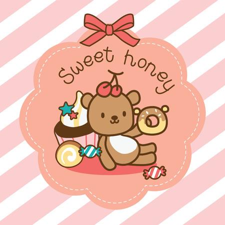 sweety bear sitting with dessert