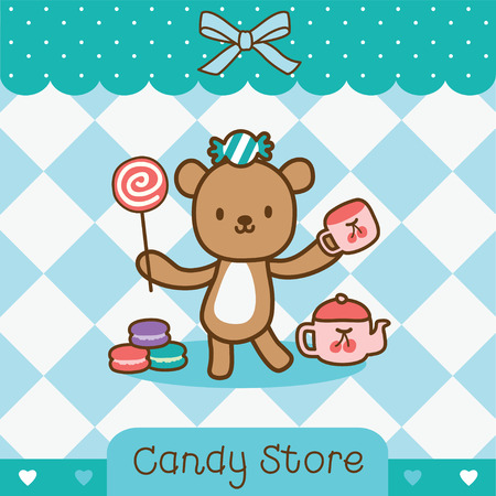 relax bear standing with candy Ilustrace