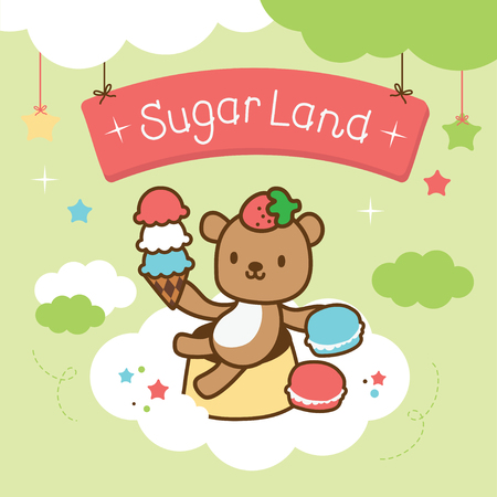 sweety: cute bear sitting on the cloud with dessert Illustration