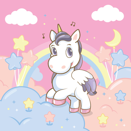 unicorn with  rainbow in the sky 일러스트