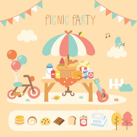 庭でピクニック パーティー