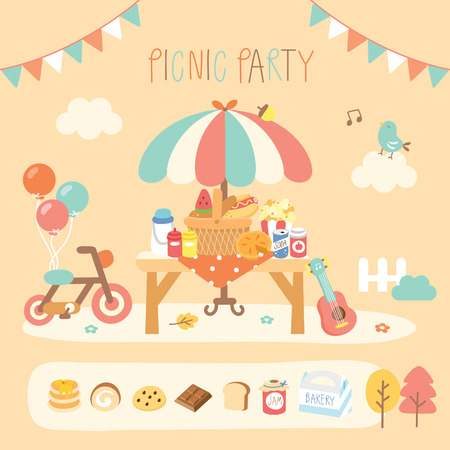 picknick partij in de tuin Stock Illustratie