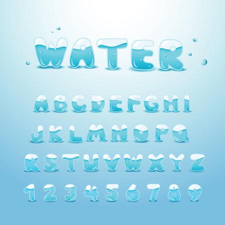 carta de agua liquida: el conjunto de alfabeto de agua