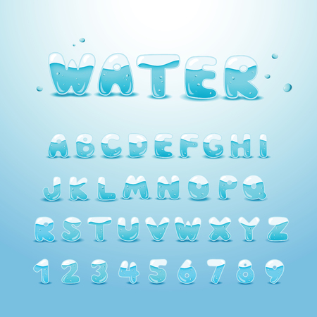 water splash isolated on white background: set water alphabet