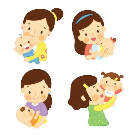 mama e hijo: Mama feliz que abraza al bebé Vectores