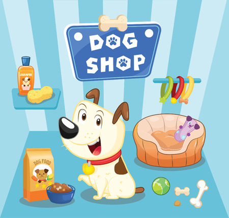 dog background: dog shop Illustration