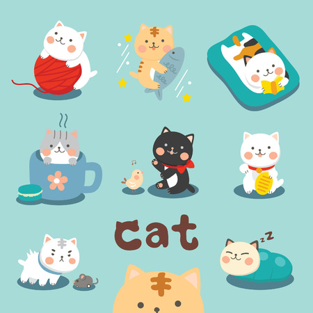 cartoon emotions: Set Cute Cat