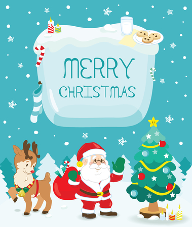 merry christmas with santa claus and deer