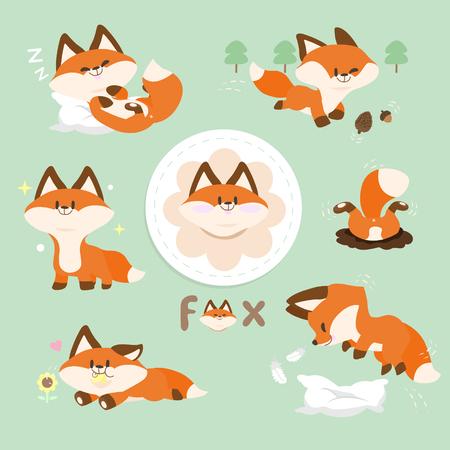 Set Cute Red Fox
