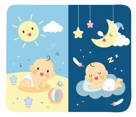 Couches bébé Jour et Nuit Banque d'images - 60578234
