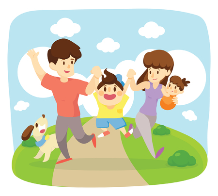 glückliche Familie laufen zusammen