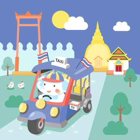 tuk tuk: cute tuk tuk in Bangkok Thailand Illustration