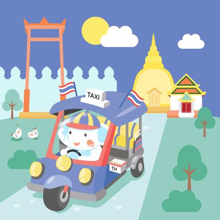 cute tuk tuk in Bangkok Thailand Illustration