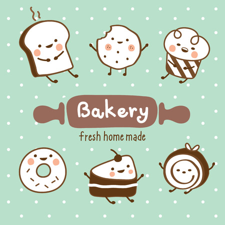set sweet bakery Ilustração