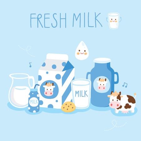 set cute milk product