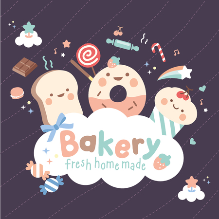 logo cute bakery happy time Ilustrace