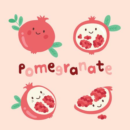 set cute fruit pomegranate