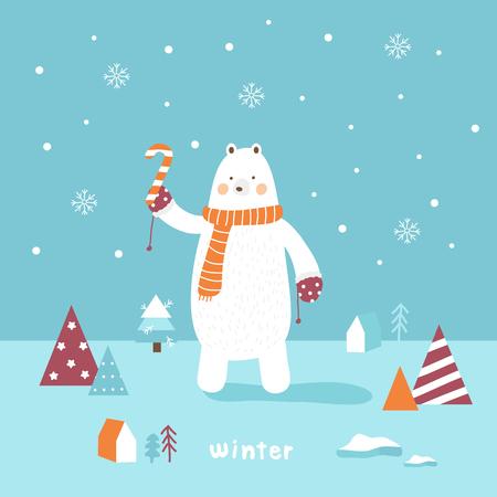 cute polar bear snow in winter