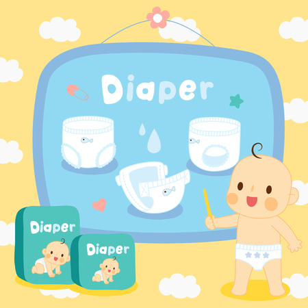 Set cute baby with diapers on pattern cloud.