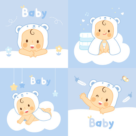 set baby with  bear towels  washcloths Ilustrace