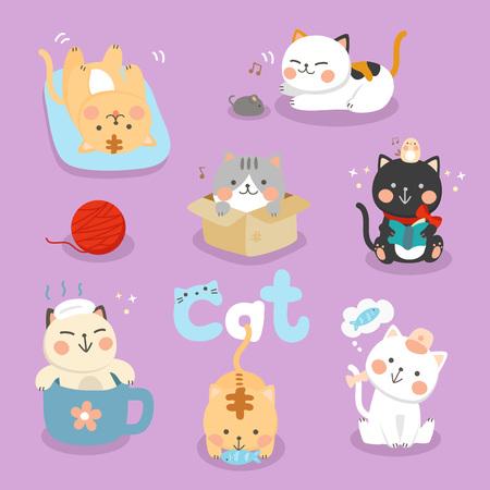 set illustration cute cat Vettoriali