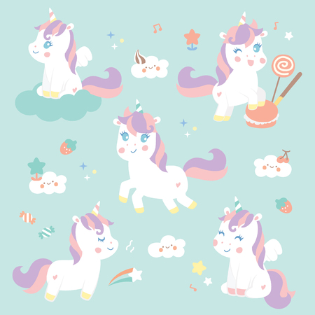 Set cute unicorn with sweet candy