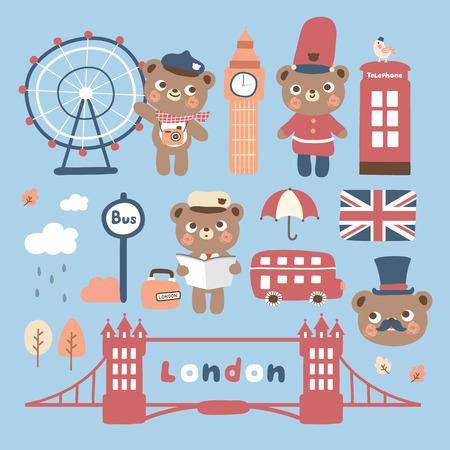zestaw śliczne londyńskie miasto z niedźwiedziem