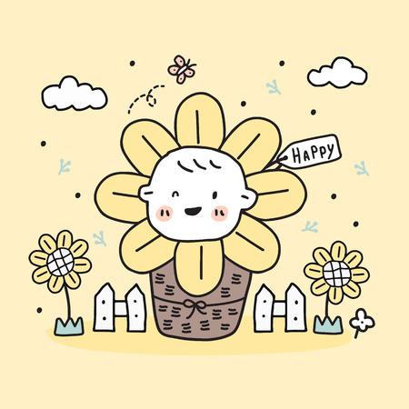 baby sunflower in basket