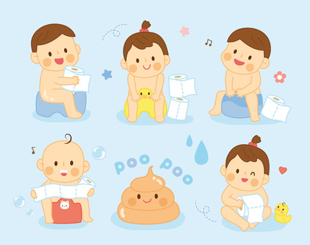 happy baby sitting on chamber pot with toilet paper rolls Ilustração