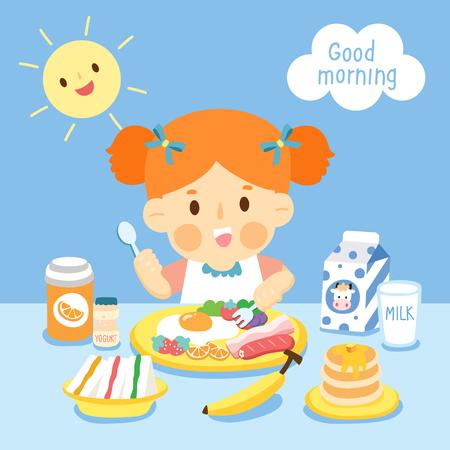 girl eating breakfast Ilustração