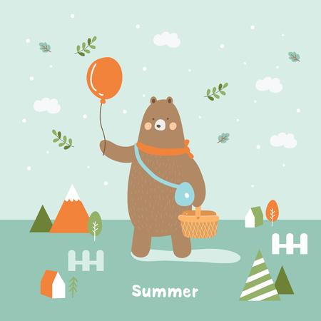 cute bear picnic in summer
