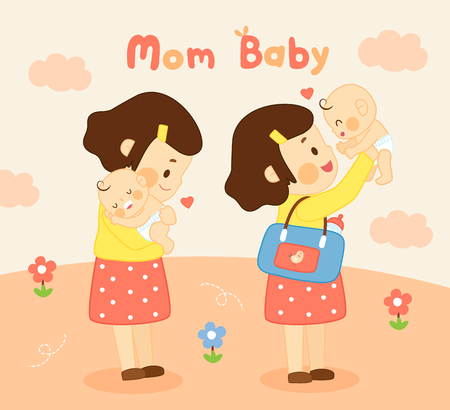 Mom and baby love moment together.