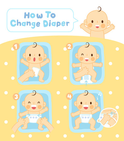 Step to change diaper vector illustration design, Reklamní fotografie - 100520669