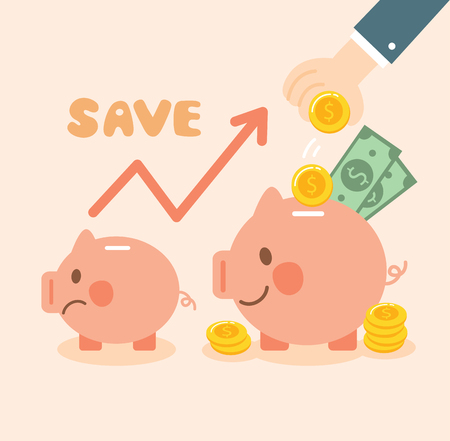 growth money and saving piggy bank Ilustrace