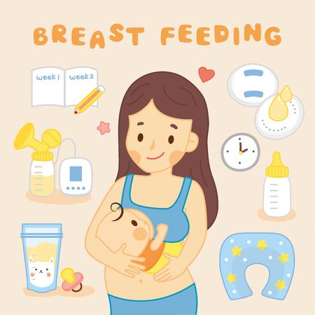 mamma che allatta bambino Vettoriali