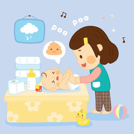 Maman change la couche dans la chambre de bébé