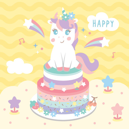 unicorn and rainbow cake Иллюстрация