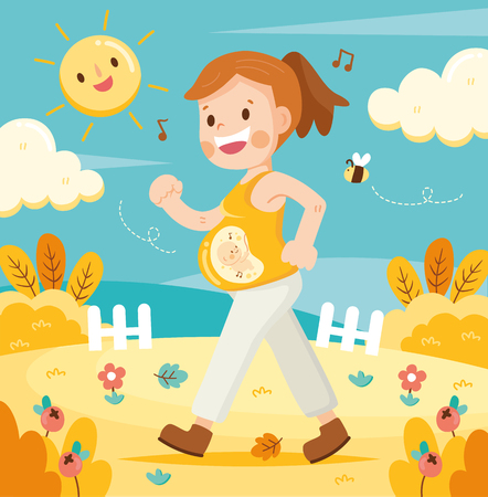 mom pregnancy exercise walking in garden Ilustrace