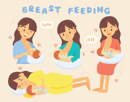set Breastfeeding position And Comfortable pose 矢量图像