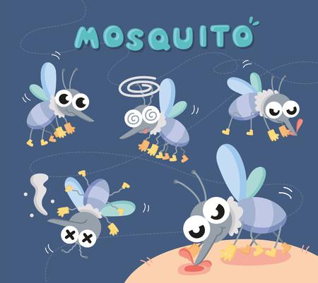 zestaw ilustracji kreskówka z bliska komara