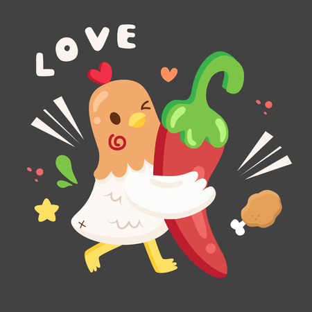 chicken character love hot and spicy