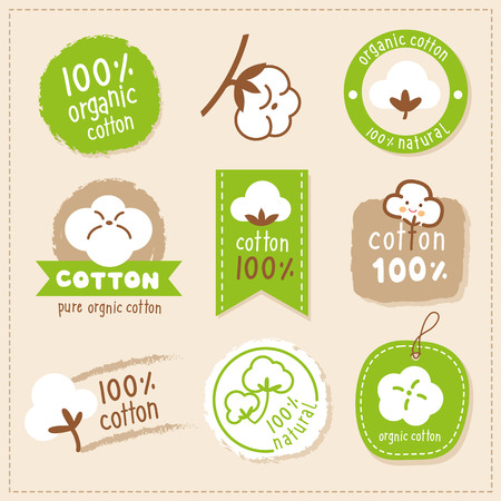 logo label pure cotton organic Ilustrace