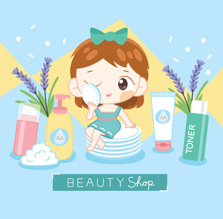 Beauty girl cleansing her face Ilustrace