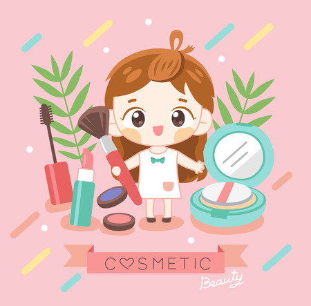 cosmetic beauty shop with character pretty girl Ilustrace