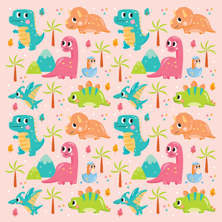 pattern cute funny baby dinosaur, textile, colorful vector, illustration,childish seamless