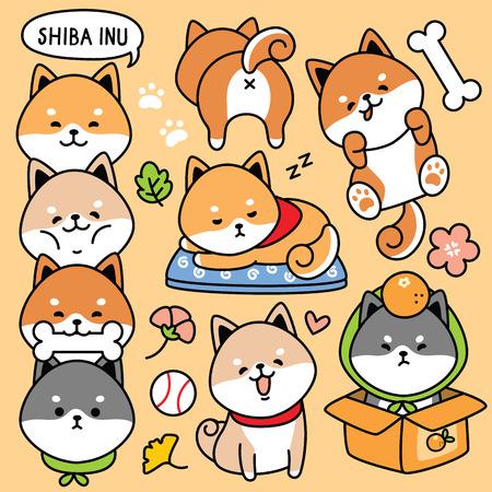 illustration, vecteur, ensemble, dessin animé, mignon, chien, japon, shiba, inu
