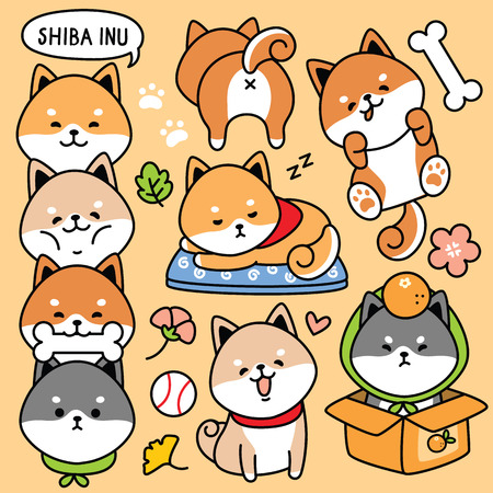 illustration vector set cartoon cute dog japan shiba inu
