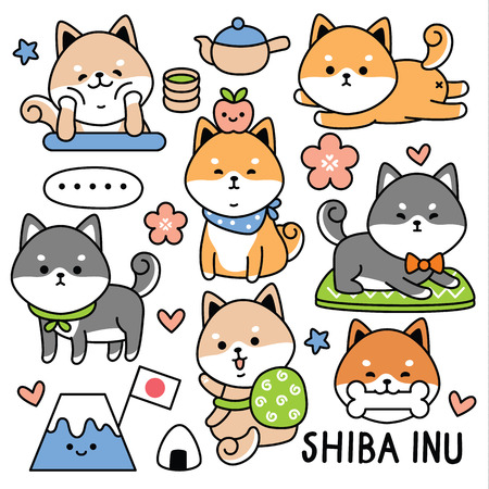 conjunto lindo perro japón shiba Ilustración de vector