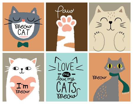 set card cute cat Çizim