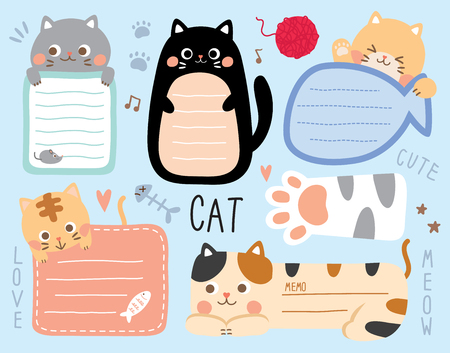set cute cat. Template for diary, memo, planner, to do list booklet, stationary, note, scrapbooking, notebook, paper cards, notes, stickers, labels.
